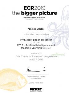 Nader Aldoj certificate - best presenter ECR 2019