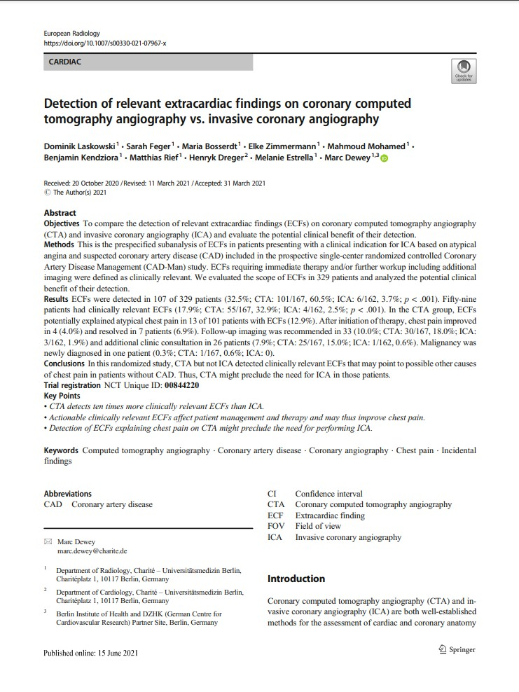 New publication: Subanalysis on CTA vs. ICA on patients with atypical angina